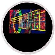 Acoustic Guitar Musician Player Metal Rock Music Color Round Beach Towel