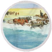 Action From A Ten Thousand Mile Motor Race Round Beach Towel