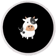 Adorable Cow Cute Baby Calf Round Beach Towel