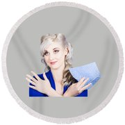 Adorable Female Pinup Cleaner Holding Dish Cloth Round Beach Towel