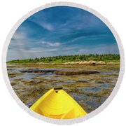 Adventurous Kayak In Maine Round Beach Towel