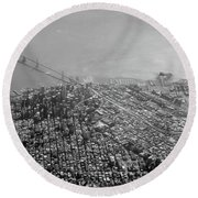 Aerial View Of Downtown San Francisco From The Air Round Beach Towel