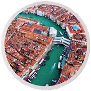Aerial View Of Grand Canal And Rialto Bridge, Venice, Italy Round Beach Towel