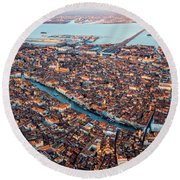 Aerial View Of Grand Canal, Venice, Italy Round Beach Towel