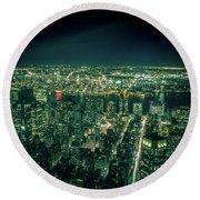 Aerial View Of Manhattan Skyline  Round Beach Towel