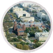 Aerial View Of Museums On The South Side Of The National Mall In Round Beach Towel