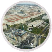 Aerial View Of The Smithsonian National Museum Of African Americ Round Beach Towel