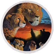 African Cats Round Beach Towel