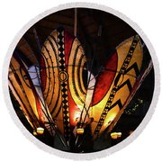 African Shields At Ak Lodge Round Beach Towel