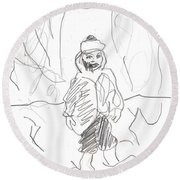 After Billy Childish Girl Pencil Drawing B2-16 Round Beach Towel