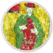 After Billy Childish Painting Otd 23 Round Beach Towel