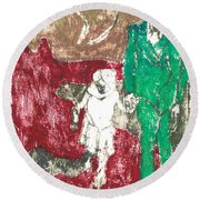 After Billy Childish Painting Otd 43 Round Beach Towel