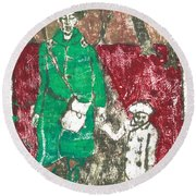 After Billy Childish Painting Otd 45 Round Beach Towel
