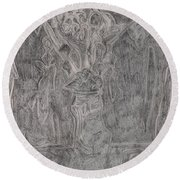 After Billy Childish Pencil Drawing 1 Round Beach Towel