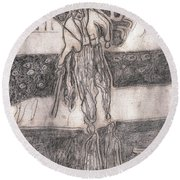 After Billy Childish Pencil Drawing 24 Round Beach Towel