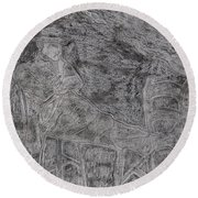 After Billy Childish Pencil Drawing 5 Round Beach Towel
