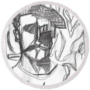 After Billy Childish Pencil Drawing B2-4 Round Beach Towel