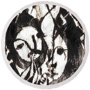 After Mikhail Larionov Black Oil Painting 14 Round Beach Towel