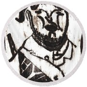 After Mikhail Larionov Black Oil Painting 2 Round Beach Towel