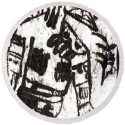 After Mikhail Larionov Black Oil Painting 3 Round Beach Towel