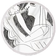 After Mikhail Larionov Pencil Drawing 1 Round Beach Towel