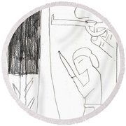 After Mikhail Larionov Pencil Drawing 10 Round Beach Towel