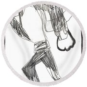 After Mikhail Larionov Pencil Drawing 12 Round Beach Towel