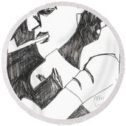 After Mikhail Larionov Pencil Drawing 4 Round Beach Towel