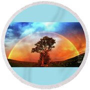 After The Storm, California Foothills                        Round Beach Towel