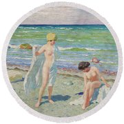 After The Swim  Oil On Canvas Round Beach Towel