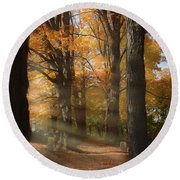 Afternoon Light In Fall Colors Of New England Round Beach Towel