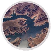 Air View Of Lake Powell Round Beach Towel