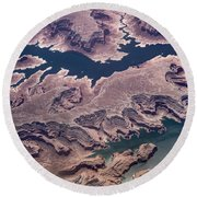 Air View Of The Colorado River Round Beach Towel