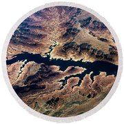 Air View Of The Grand Canyon Round Beach Towel