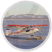 Airplane In The Harbour Round Beach Towel