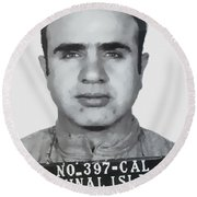 Al Capone Mugshot 1939 - T-shirt Round Beach Towel