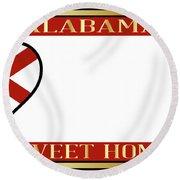 Alabama State License Plate Round Beach Towel