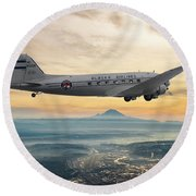 Alaska Airlines Dc-3 Over Seattle Round Beach Towel