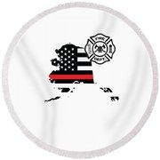 Alaska Firefighter Shield Thin Red Line Flag Round Beach Towel