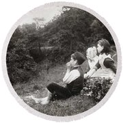 Alexander Keighley - Children On A Picnic, Ca 1890 Round Beach Towel