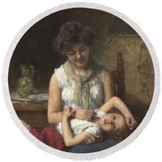 Alexei Harlamoff,  Portraif Of Sisters Round Beach Towel