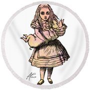Alice And The Pig Round Beach Towel