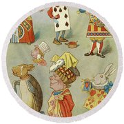 Alice In Wonderland Characters Round Beach Towel