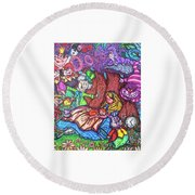 Alice In Wonderland  Round Beach Towel