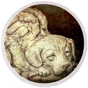 All Dogs Are Angels Round Beach Towel