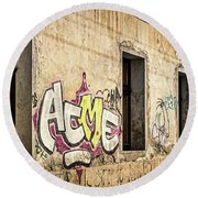 Alley Graffiti And Windows - Romania Round Beach Towel
