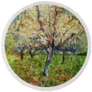Almond Orchard Round Beach Towel