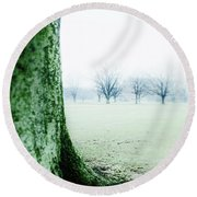 Alone But Not Abandoned Round Beach Towel