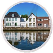 Along The Canal. Flanderenfietsroute.   Round Beach Towel
