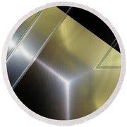 Aluminum Surface. Metallic Geometric Image.   Round Beach Towel